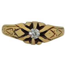 Civil War Era 14K Old European Cut Diamond Ring - Victorian