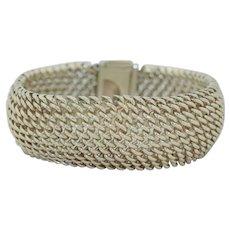 Wide Sterling Silver Chain Mesh Bracelet