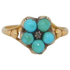 Victorian 14K Locket Turquoise & Rose Cut Diamond Memorium Ring