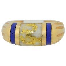 Mens 14K Gold Quartz & Lapis Ring SZ 11.5US