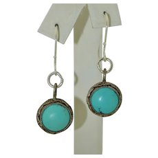Deco Sterling Silver & Turquoise Filigree Chinese Earrings