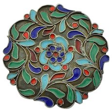 Pure Silver Enamel Chinese Brooch