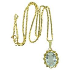 8.6 Carat Aquamarine 14K Pendant with Chain