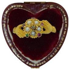 Victorian 15K Regard Claddagh Cluster Gloved Hand Ring
