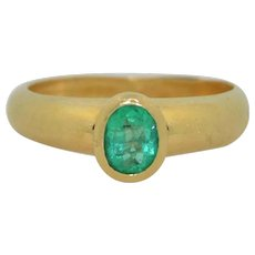 18K Yellow Gold And Fine Emerald Ring