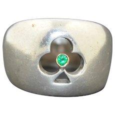 Chunky 14K & Sterling silver Clover Shamrock Emerald Ring