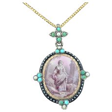 Antique French Pendant Reliquary Hand Painted Locket Gold Silver Turquoise Pearls and Enamel