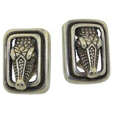 Barry Kieselstein-Cord Sterling Silver Alligator Earrings
