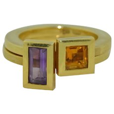 Modernist 18K Amethyst and Citrine Double Stacking Ring Set of Two 16 grams