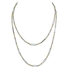 31 Inch Niello Silver and Rose Gold Vermeil Chain Necklace