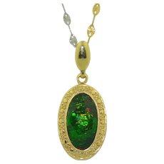 14K Ammolite Pendant & 3 Color 14K Gold Chain