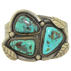 1930's/40's Sterling Silver & Turquoise Navajo Cuff Bracelet