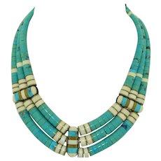 Santo Domingo Double sided Turquoise Onyx Bone & Brass Necklace
