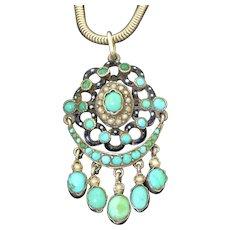 Stunning Austro Hungarian Silver Turquoise Enamel & Pearl Pendant
