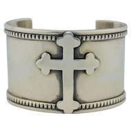 Native American Navajo Darryl Becenti Wide Sterling Silver Cross Bracelet Cuff