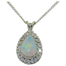 14K White Gold Opal & Diamond Necklace