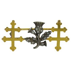 Victorian Scottish 18K & Sterling Silver Thistle Double Cross Brooch - Pin