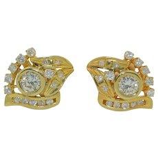 14K Retro 1.5 CTW +/- Diamond Earrings