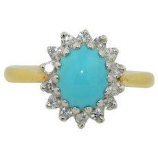 18K Diamond & Turquoise Halo Ring