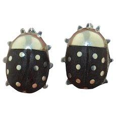 Ladybug - Ladybird Sterling Silver & Wood Large Stud Earrings (Mexican)