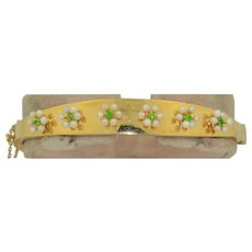 14K Demantoid Garnet & Seed Pearl Bracelet