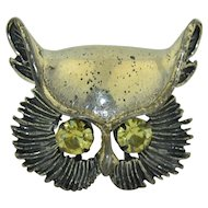 Beau Sterling Silver Retro Owl Brooch