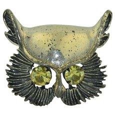 Beau Sterling Silver Retro Owl Brooch