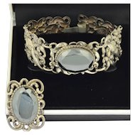Danecraft Sterling Silver and Hematite Bracelet and Ring Suite Set