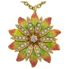 Stunning Art Nouveau 14K Diamond Pearls Enamel Pendant  - Pin