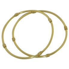 2 - 14K Yellow Gold Bangles - Bracelets