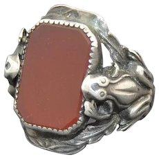 Art Nouveau Sterling Silver  & Carnelian Frog Ring