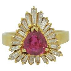 Retro 14K Fine Ruby & Diamond Ring