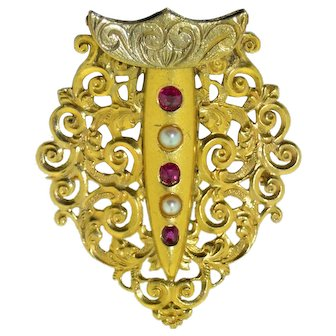 18K Ruby & Pearl Mughal-style Sarpech Turban Ornaments - Brooch