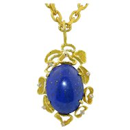 18K Yellow Gold 25 1/2 Carat Fine Lapis & Diamond Pendant