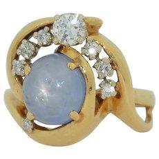4.5Ct Star Sapphire & Diamond 14K Yellow Gold Ring