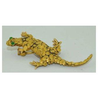 Antique 22K Gold Klondike Gecko Brooch Pendant