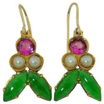 18K Jade, Pink Sapphire & Split Pearl Earrings