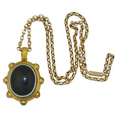 Georgian 18K Foil Backed Rock Quartz Crystal & Banded Agate Locket