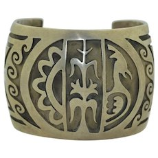 Signed Sterling Silver  Native American Wide Overlay Cuff Bracelet