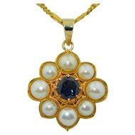 18K Split Pearl & Fine Blue Sapphire Pendant
