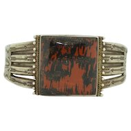Native American Hand Wrought Sterling Silver Petrified Wood Cuff Bracelet