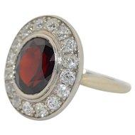 Large 14K White Gold Garnet & Diamond Halo Ring SZ8.5