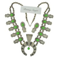 Thomas (Tommy) Singer Sterling Silver Squash Blossom Necklace & Earring Suite