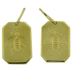 9K & 14K Etched Bee (insect) Earrings by Henry Hobson & Sons 1938