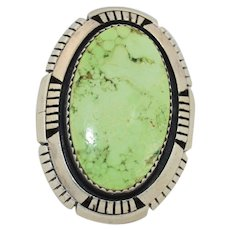 Ray Begay Signed Sterling Silver with Natural Green Turquoise Ring