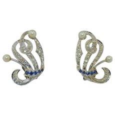 Art Deco 14K White Gold Sapphire,  Spinel & Pearl Earrings (Pierced)