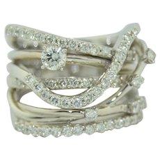 Wide Designer Multi Crossover 14K White Gold 1 CTW Diamond Ring