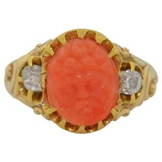 Art Nouveau 14K Hand Carved Coral & Old Mine Cut diamond Ring