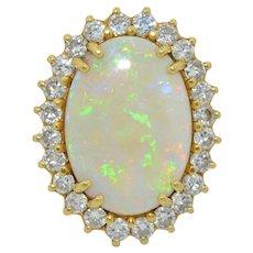 Massive AA Australian Opal & 2 CT Diamond 18K Ring
