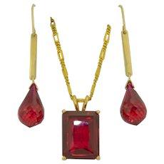14K Blood Red Topaz Pendant & Earring Set